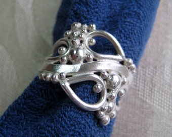 Sculptural Climbing Vine Ring in Fused Sterling Silver, Size 6 and a Half