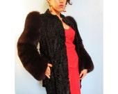 30s Vintage Art Deco Broadtail Fox Jacket Paris medium