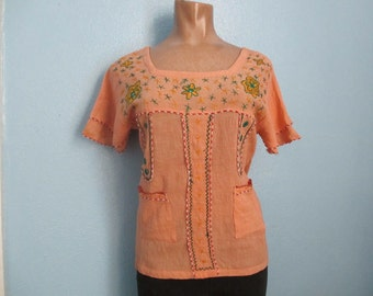 70s Vintage Hand Woven Gauze Embroidered Hippie Top Blouse