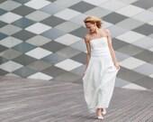 Unique strapless Wedding Gown / Hand Made Nuno Felt / Silk & Softest Wool / natural white