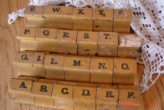 Vintage Mid Century Industrial Letterpress UpperCase Alphabet Stamp Set