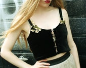 Black and Green Velvet Crop Top with Calla Lily Brooches