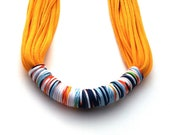 Handmade Scarf Necklace - Cotton Jersey T Shirt Yarn Eco Friendly - Vintage Fabric Color Block