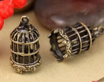 2pcs Detailed Brass 3D Bird Cage Charm