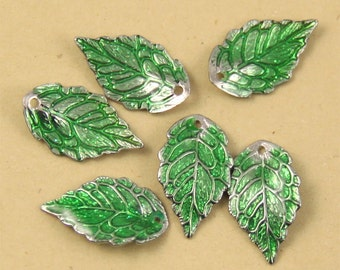6pcs Green Enamel Leaf Charm