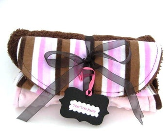Burp Cloths and Bib - Neopolitan Ice Cream Stripes/Brown and Pink- 3pc. gift set