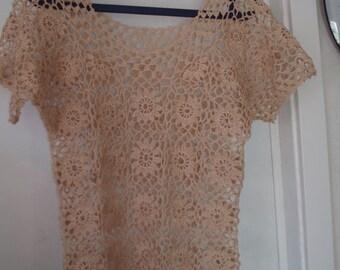 Crochet lace cream beige flower eco linen womens girls summer party beach wedding romantic tunic dress