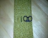 Crochet Hook Holder Organizer Olive green floral print to go Holds 2 hooks and Scissors