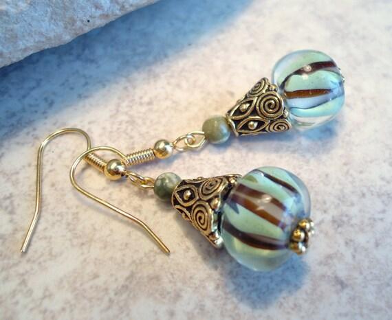 Green Lampwork Glass Earrings