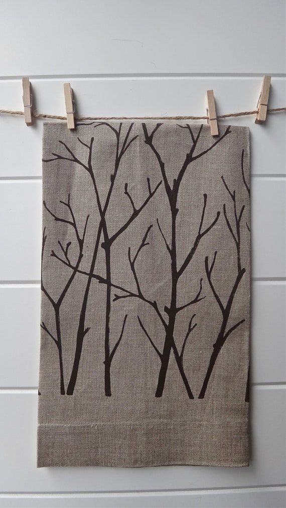 Linen Kitchen Towel with Branches, Natural Brown