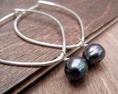 Black Pearl Hoop Earrings Sterling Silver, Pearl Hoops, Black Fresh Water Pearls, On Sale, Silver Hoops