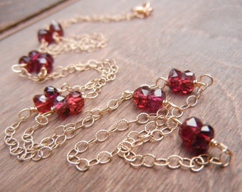 Garnet Gemstone Necklace 14K Gold Filled Chain, Red Garnet, January Birthstone, Simple Garnet Necklace, Layering Neckalace