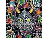 Hannya art print by J Medina mask maple leaves japanese style