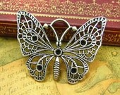 5 pcs Silver Butterfly Charms 48x35mm CH1105