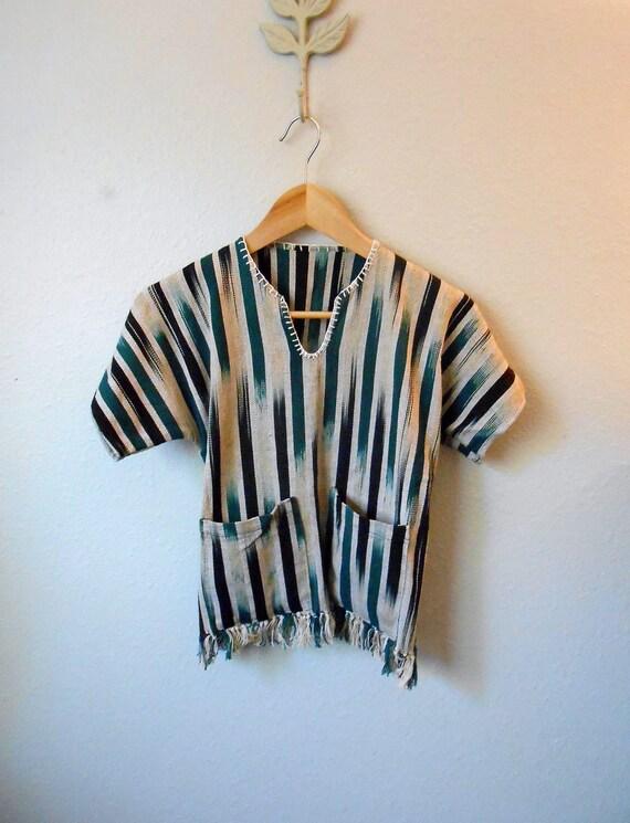 80s childrens striped green black white mexican fringe poncho / kids medium