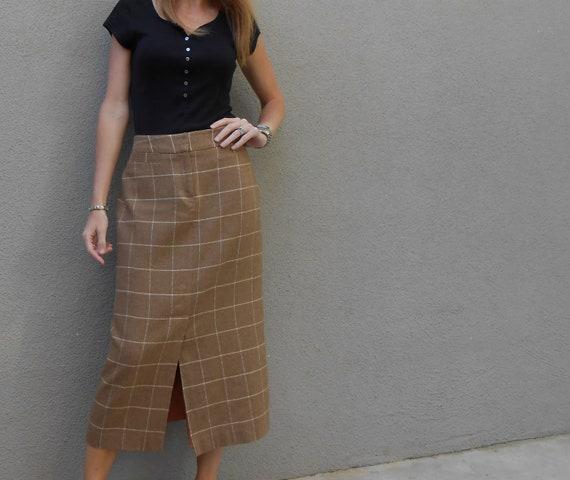 SALE tan wool striped J G Hook midlength skirt / S