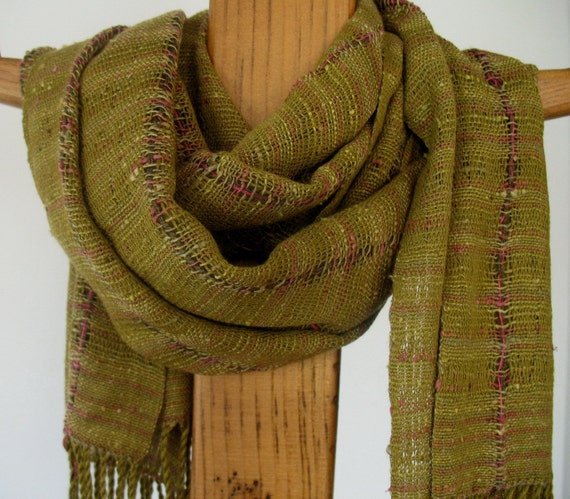 Curry Green Silk and Bamboo Handwoven Scarf