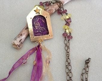 Tassel necklace,2 birds on a branch,brass enamel pendant, purple,yellow,wire wrap beaded chain,shadow box necklace,fiber tassel,OOAK
