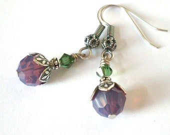 Crystal earrings, plum green beads, antiqued silver bead caps, vintage style, Austrian crystal, green purple jewelry, crystal jewelry