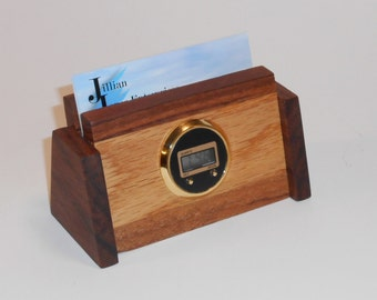 Two-Tone Wooden Business Card Holder with Retro Digital Clock