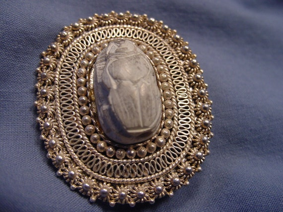 Solid Silver filigree & authentic Scarab broach / pendant