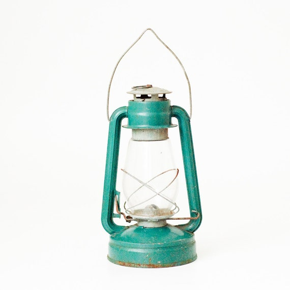 Blue Green Vintage Soviet Kerosene Lantern - Rustic Home Decor - Made in USSR - Collectible