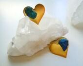 Brass Heart Peacock Ore Stud Earrings - Asymmetrical -  Shimmering Teal Blue - Raw Gemstone