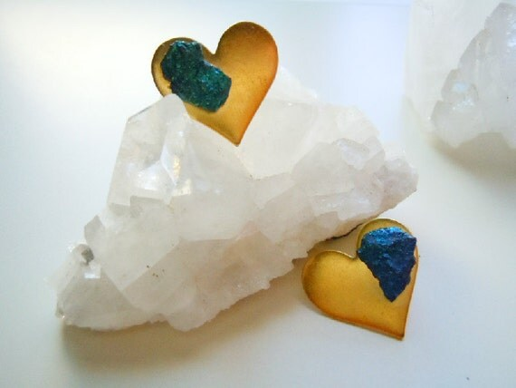 Brass Heart Peacock Ore Stud Earrings - Asymmetrical -  Shimmering Teal Blue - Raw Gemstone