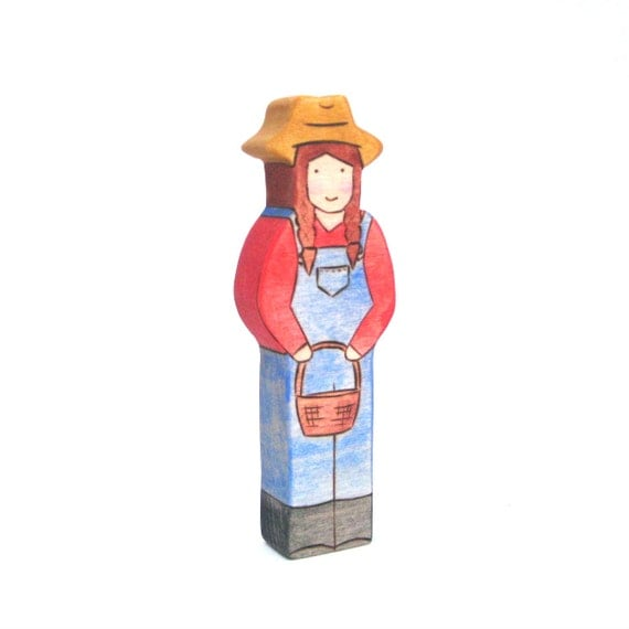 Woman Farmer - Figure Toy - Wood Toy - Handmade Toy
