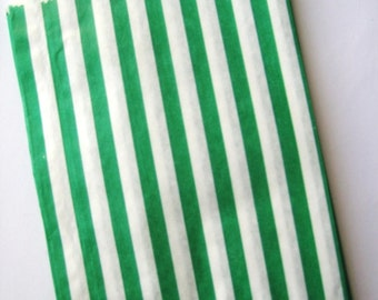 25 Green Striped Sweet Shop Candy Bags - Party Favor  - Party Supplies A131