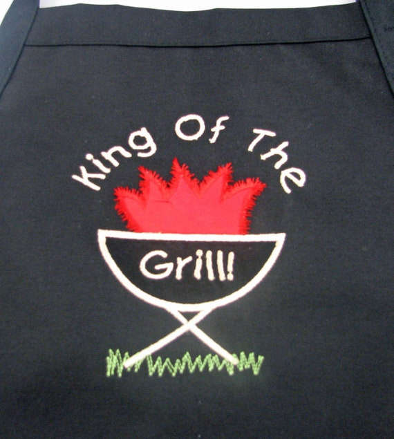 Personalized Custom Embroidered Applique King/Queen of the Grill Apron