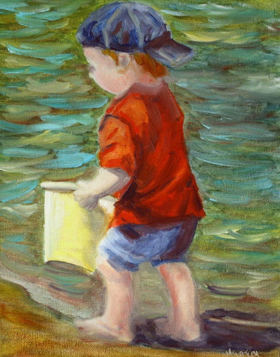 Beach Painting - Child Painting - Oil Painting Seascape -