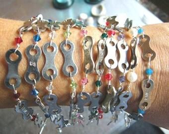 Bike Chain Bracelet Hand Wired with Birthstones Wedding Bridesmaids Birthday - LBWIREBS