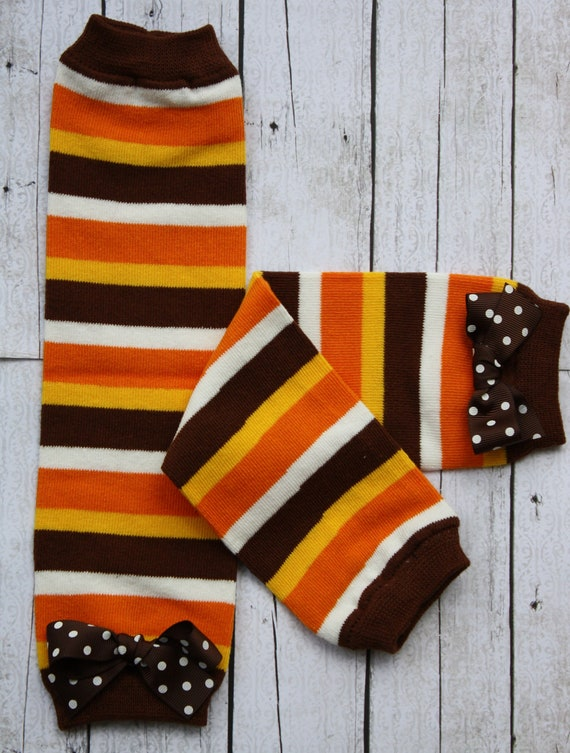 Fall Stripe Leg Warmers with  bows