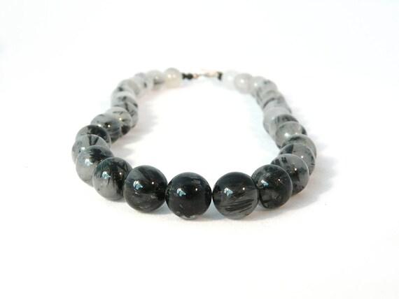 VAPOR. black tourmaline quartz ombre necklace with matte agate and sterling silver