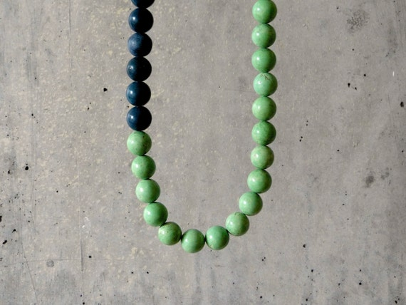 COLORBLOCK. bright necklace with chartreuse green magnesite and teal sponge coral. modern. beach style.