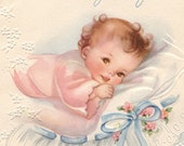 Vintage Baby Girl Baby Card