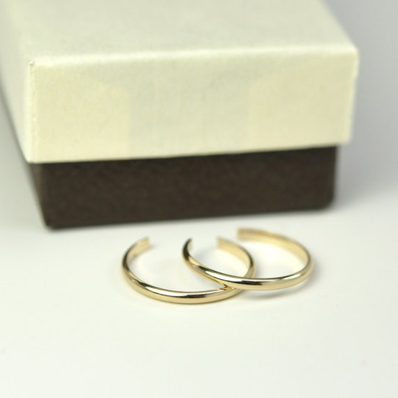Stacking Toe Rings in Gold Fill, Set of Two Adjustable Simple Everyday Dainty Handmade Jewelry Kristin Noel Designs