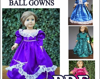 1800s Victorian Gown or Evening Dresses Pattern for American Girl Dolls - INSTANT DOWNLOAD