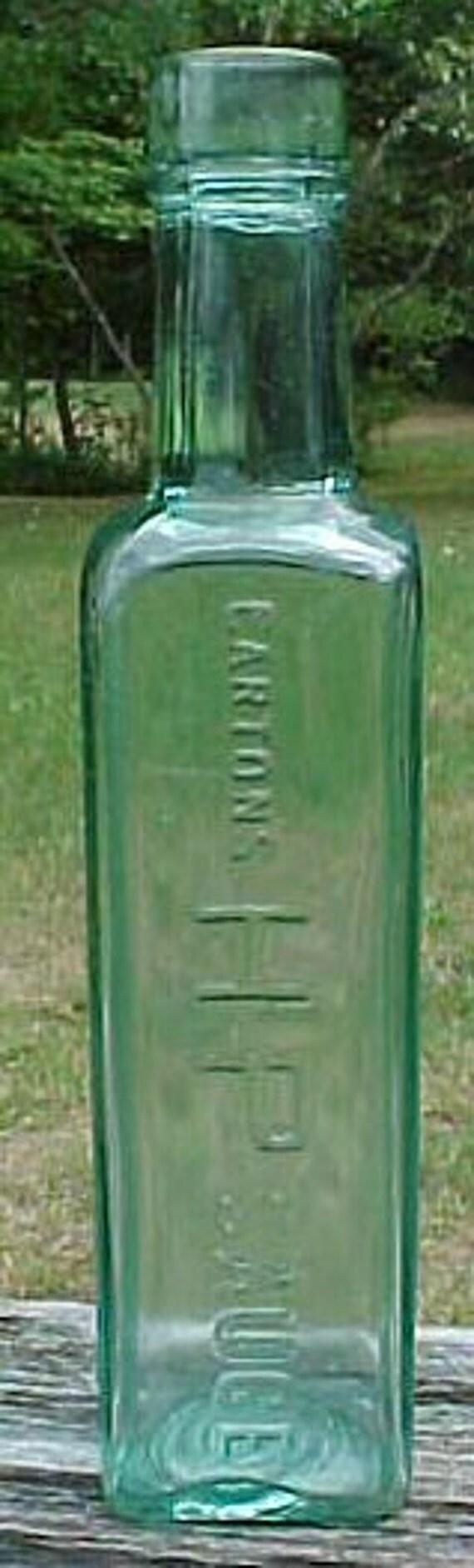 c1920s Cartons HP Sauce , Aqua Glass Food Sauce bottle