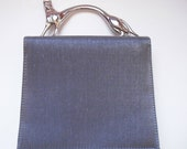 Silver gray vintage Chrome cat handle vintage purse with long strap