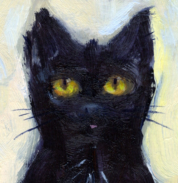 Black cat with yellow green eyes and pink tongue is subject of this small oil paint study