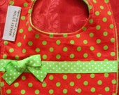 Sale- Christmas Ribbon Bow Bib Ready to Ship - torilynn817