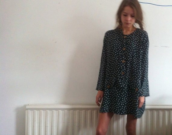polka dot green slouchy dress