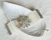 Bridal Pearl Rhinestone Cuff Bracelet Crystal Ribbon Wedding Jewelry BL014LX