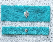 Something Blue Garter Set Rhinestone Crystal Ribbon Lace Toss Keepsake Garter Tiffany Blue GR041LX