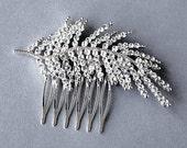 Rhinestone Bridal Hair Comb Wedding Jewelry Crystal Feather Comb Side Tiara KLYARA Collection CM008Lx