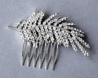 Rhinestone Bridal Hair Comb Wedding Jewelry Crystal Feather Comb Side Tiara KLYARA Collection CM008Lx