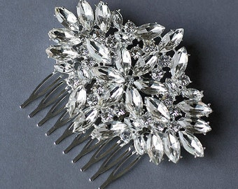Rhinestone Bridal Hair Comb Accessory Wedding Jewelry Crystal Flower Side Tiara CM037LX