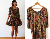 Vintage All That Jazz Retro Tapestry Floral Print Dress Small
